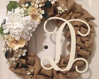 Personalized Floral Burlap Wreath