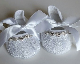 White Bling Baby Crib Shoes, Christening Shoes, Baby Shoes