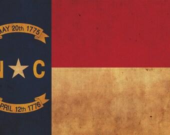 Vintage North Caroling Flag on Canvas, North Carolina Flag, Wall Art, North Carolina Photo North Carolina Print, Single or Multiple Panels
