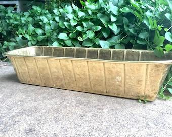 "Large 22"" Brass Planter Window Box, Hammered Brass Trough, Vintage Brass Mid Century Hollywood Regency Home Decor"