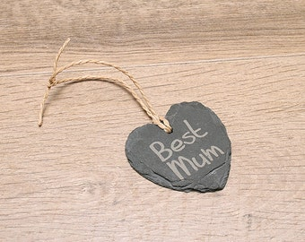 Personalised 'Best Mum' Small Slate Heart, Double sided.