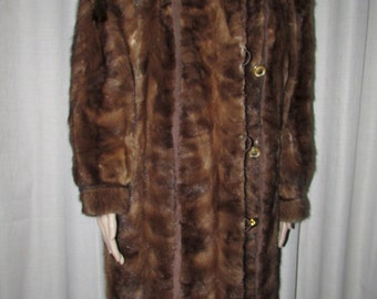 Vintage  très joli manteau de fourrure de vison brun moyen/ Vintage beautiful medium brown mink fur coat   sz xxl bust 48