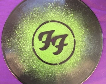 Foo Fighters Spray Painted Record Clock