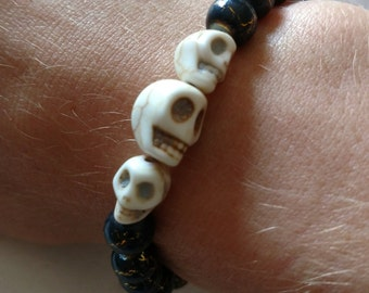 Black and Gold 3 Skull Bracelet