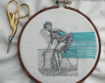 "Photo Transfer of a Pin-up with Embroidery on a 5"" hoop"
