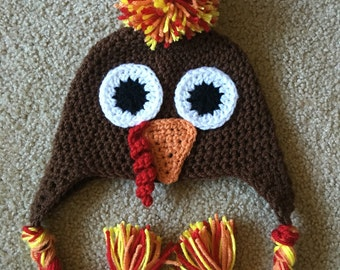 Newborn Crochet Turkey Hat, Turkey Hat, Newborn Thanksgiving Hat, Baby Turkey Hat