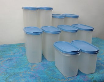 Vintage,  Blue set of tupperware storage containers.