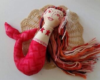 Doll, mermaid, OOAK doll, heirloom doll, OOAK mermaid doll, mermaid, stuffed toy, pink mermaid.