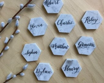 """Calligraphy on Carrara White Marble 2"""" Hexagon Tile - Name Place card for weddings- FREE SHIPPING in the US"""
