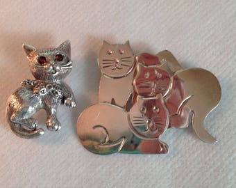 Sterling Cat Pins, 2