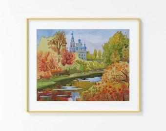 Original Watercolor Painting , Original Watercolor, landscape,Russia,,Church,Cathedral,River,Fall