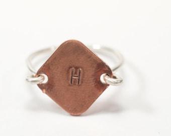 "Statement ""H"" Engraved Ring"