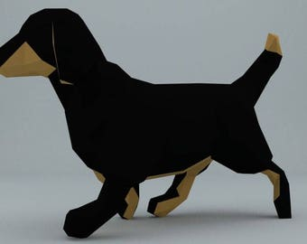 DIY PAPER SCULPTURES dachshund pdf file digital product papercraft model template