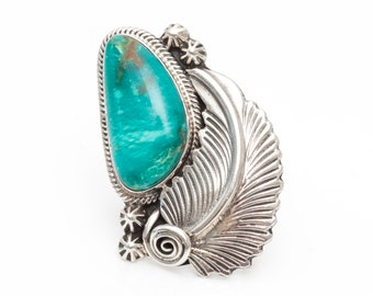 Vintage Navajo Turquoise & Feather Sterling Silver Ring, VJ #716