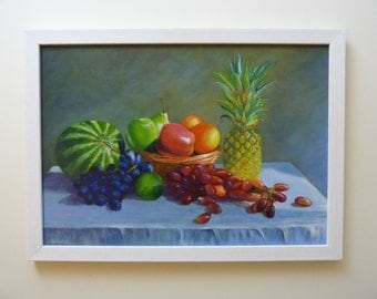 Still life painting - 'Fruit in sunshine': Original acrylic, 42cm x 30cm, melon, pineapple, apples, oranges, pear, lime, grapes.