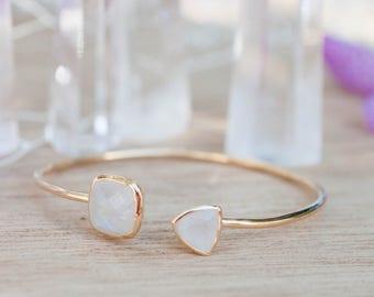 Moonstone * Bohemian Gold Bangle Bracelet * Gemstone * Adjustable * Statement * Gypsy * Hippie * Boho * Layering * Stacking