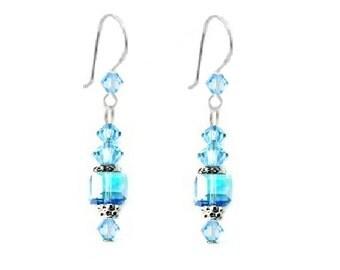 Aquamarine March Birthstone 925 Sterling Silver Earrings