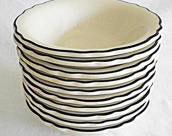 "Set 12 Vintage Homer Laughlin Best China Bowls White Black Pinstripe Scalloped Border 6"" Soup Cereal FFD-1 New Old Stock Unused Restaurant"