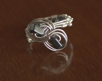 Silver plated copper Hematite ring Infinity