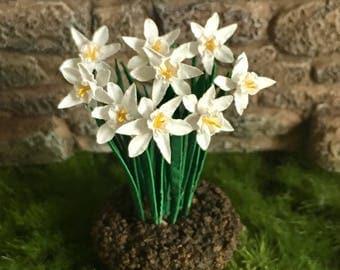 Dollhouse Miniature White Daffodil Narcissus Landscape Artist Made