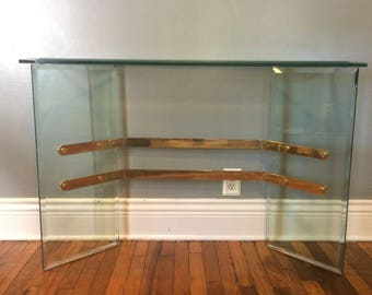SALE! Vintage Beveled Glass & Brass Console / Entryway Table