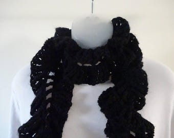 Ruffled Black Crocheted Scarf