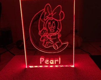 Minnie Mouse lamp , led lamp, night light, children's light, desk lamp, personalised  , home decor, eco lamp, more variations