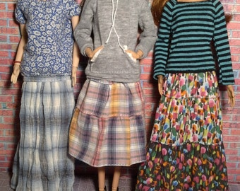 Medium tired plaid skirt for Barbie, Fashion Royalty, Liv and other fashion dolls.