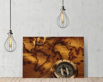 Old World Map Vintage Testament Compass Decorative Decorative Art Canvas Print /Home Decoration/ Wall Art/Gallery Wrapped/Ready to Hang
