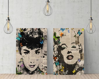 Audrey Hepburn and Marilyn Monroe Newspaper Design Art Canvas Print TWO-PIECE SET/Home Decor /Wall Art/Gallery Wrapped /Ready to Hang
