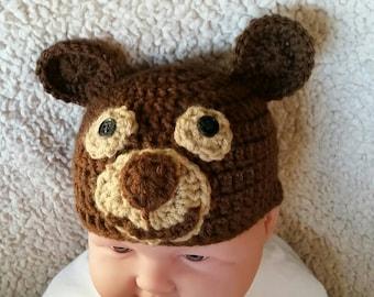 Crochet bear hat, crochet hat, photography prop, brown baby hat