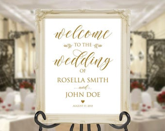 Gold Wedding Welcome Sign Template, Welcome to Our Wedding, DIY Welcome Sign, printable welcome sign, Wedding Welcome Poster, WPC_611