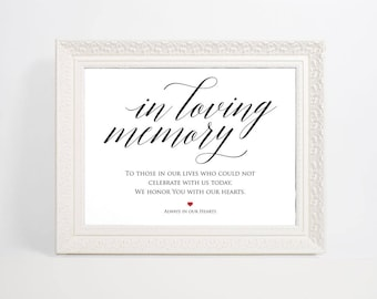 In Loving Memory Sign, Wedding Sign, In Memory Sign, Memory Sign, Wedding Printable, Memorial Table Sign, WPC_743SD1A