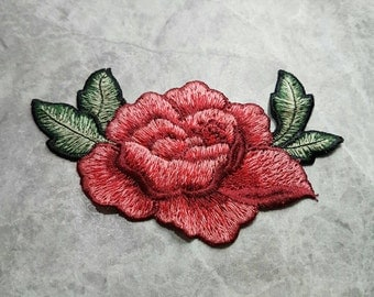 English Rose Embroided Sew on patch Applique