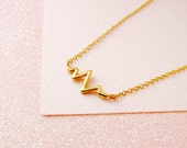 Sterling Silver 18k Gold Plated Heart Rate ECG Bar Necklace