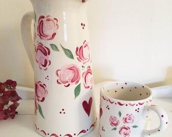 Large Pink Rose on Tall Jug
