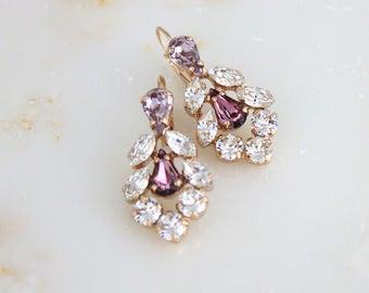 Rose Gold crystal earrings, Rose gold Bridal earrings, Bridal jewelry, Bridesmaid earrings, Swarovski earrings, Wedding earrings Chandelier