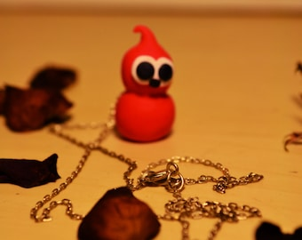 Zingy! cute, quirky sculpted character charm, pendant necklace, silver chain