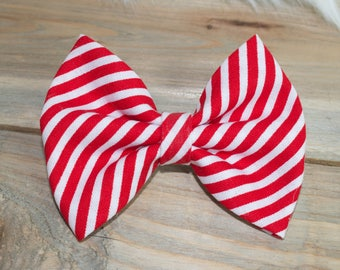 Baby & Toddler Headband Bow or Clip - Red - White - Strips - 4th of July - Summer