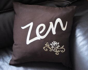 "Brown ""zen"" pillow"