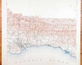 Antique Santa Barbara, California 1903 US Geological Survey Topographic Map – Montecito, Summerland, El Rincon, Pueblo