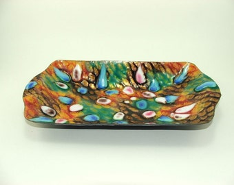 Mid-Century vintage brightly colored  enamel bowl, jewelry bowl, ring bowl