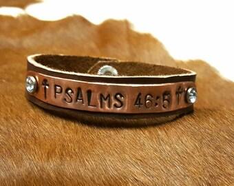 Psalms 46:5 copper stamped leather bracelet
