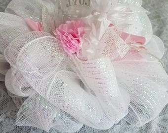 Wedding centerpiece with floating candle or regular candle.Mesh centerpiece. Table centerpiece. Deco mesh floating candle centerpiece