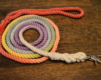 Rainbow Rope Dog Leash: Multicolor, Colorful Rope Dog Leash/Lead