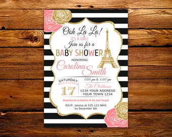 Paris Baby Shower Invitation. Eiffel Tower Baby Shower Invitation. Paris Shower Invitation. Printable Invitation. French Shower. Gold,Floral