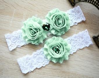 Mint Garter, Wedding Garter, Wedding Garter Set, White Garter Set, Wedding Garter White, Unique Garter Set, Lace Wedding, Garter Bridal