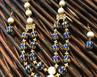 Blue Enamelling Set with Pearls
