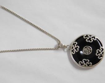 Vintage Sterling Silver Onyx Necklace Pendant