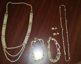 Vintage India Sterling Silver Jewelry Set Necklace/Bracelet/Earrings/ETC